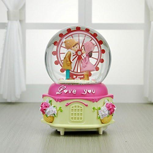 Weekendy Jouet drôle de bébé Neige RoFemmetique Maison Couples Ferris Roue Boîte à Musique Cristal Boule Bureau Décoration-Rose   Merveilleux