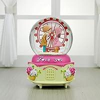 Preisvergleich für Baby-lustiges Spielzeug Schneit romantische House Paare Riesenrad Spieluhr Crystal Ball Schreibtisch Dekoration-Pink