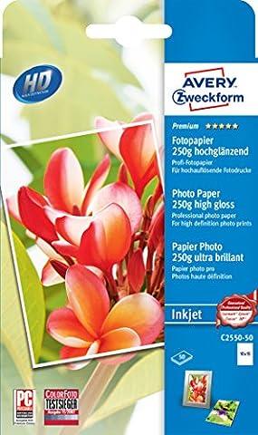 Avery Zweckform C2550-50 Premium Inkjet Fotopapier (10x15, einseitig beschichtet, hochglänzend, 250 g/m²) 50 Blatt