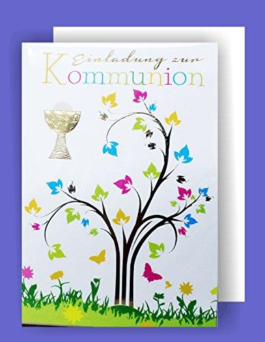 Feste Feiern zur Kommunion I 5 Teile Einladung Doppelkarten mit Briefumschlägen I Baum Pokal mehrfarbig metallic