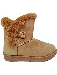 3dd759bec730e Femme Fille Botte Boots Bottine Chaussure fourrées fur Plat Talon MD2307  CAMEL