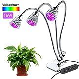 LED Lámpara Crecimiento Plantas, 15W Bombilla LED con Luz Rojo y Azul Lámpara de Cultivos Hidropónicas para Crecimiento y Floración