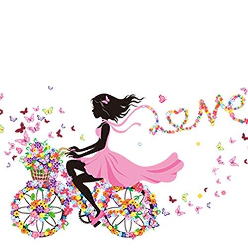 Carolui Wandtattoo Teenager-Mädchen Fahrrad Wohnzimmer Romantisch Wohnzimmer Wandposter Aufkleber (Teenager-mädchen Material Für)