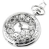 Miniwill Vatertagsgeschenk Damen Herren Steampunk Quartz Taschenuhr Silber, Retro Zahnrad Ritzel Mechanische Kettenuhr Skelett Uhr mit Halskette Kette