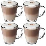 Get Goods 350ml Latte Glasses - Thick Toughened Glass Mugs - Coffee / Tea / Espresso / Cappuccino - Dishwasher Safe