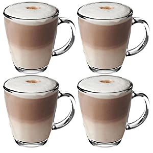 Get Goods 350ml Latte Glasses - Thick Toughened Glass Mugs - Coffee / Tea / Espresso / Cappuccino - Dishwasher Safe