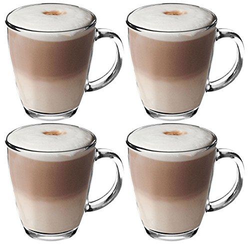 Get Goods 350ml Latte Glasses - Thick Toughened Glass Mugs - Coffee/Tea/Espresso/Cappuccino - Dishwasher Safe (4 glasses)