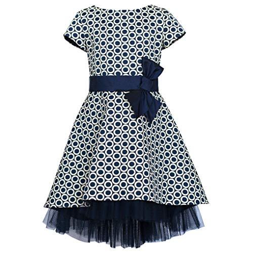 Unbekannt SLY Mädchen Kleid Einschulung Festlich Hochzeit Blumenmädchen Rüschen Tüll Blau Weiß Größe 134 -