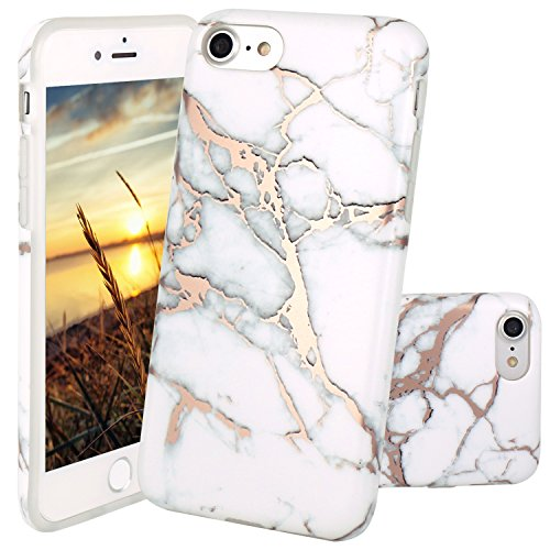 iPhone 6 Hülle, iPhone 6S Hülle, JIAXIUFEN Shiny Rose Gold Gray Marmor Design Soft TPU Silikon Schutz Handy Hülle Handytasche HandyHülle Case Cover Tasche Schutzhülle für iPhone 6 Shiny Rose Gold Watercolor White Marble