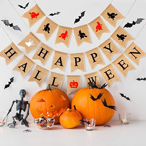 Maitys Fröhliches Halloween Banner Halloween Thema Jute Girlande Hexe Geist Kürbis Fahnentuch Banner für Halloween Party Dekoration (Halloween-basteln Für Machen Erwachsene Zu)