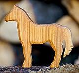 Pferd geschnitzt Holz Tier Krippe Dekoration Massiv Figur Handarbeit Bauerntier Wald