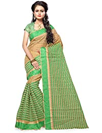FINE WEAR WOMEN'S ETHNIC WEAR JARI BORDERED KANJIVARAM COTTON SILK ROYAL GREEN COLOUR SAREE.