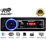 Dulcet DC-A-09 Double IC High Power Universal Fit Mp3 Car Stereo with Bluetooth/USB/FM/AUX/MMC/Remote and Built-in Equalizer with Bass & Treble Control [Also, Includes a Free 3.5mm Aux Cable]