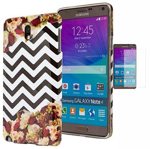 Galaxy Note 3, Bastex Handy Tasche Schutz Hülle Pink und Rot Rosen mit Schwarz und Weiß Chevron Design Gummi TPU Gel Schutzhülle Für Samsung Galaxy Note 3inkl. Displayschutzfolie