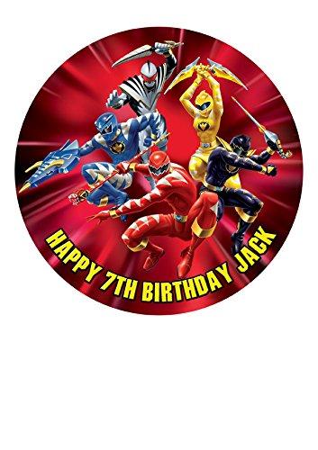 Power Rangers Personalisierte Kuchen Topper Puderzucker Papier 19,1cm Bild M4