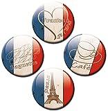 Kühlschrankmagnete Flagge Frankreich 4er Set Fahne Ø 50 mm Magnete Länder-Flaggen mit Motiv Liebe