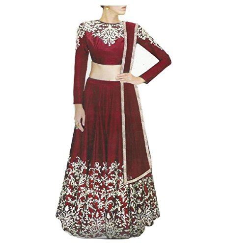 Muta Fashions Banglori Silk Maroon Women Lehenga ( LEHENGA110_Maroon )