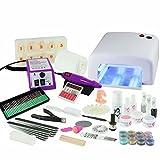 N&BF UV Gel Nagelstudio Starter Set inkl. Nagelfräser & 36 Bits komplett mit UV Lampe - optimaler Einstieg ins Nageldesign mit dem Nagelset und Tips - Feilen - Pinsel - Nailart - Nail Set für Gelnägel (Weiß)