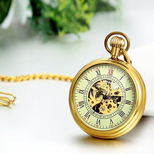 JewelryWe Retro Handaufzug mechanische Taschenuhr Skelett Uhr mit Römischen Ziffern Zifferblatt Kettenuhr Halskette Kette Gold