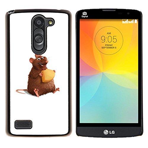 YiPhone /// Premium Slim Snap caso della copertura posteriore Armatura Shell - Ratto Roditore Criceto Cartoon Art Formaggio Carino - LG L Prime D337 / L Bello D337
