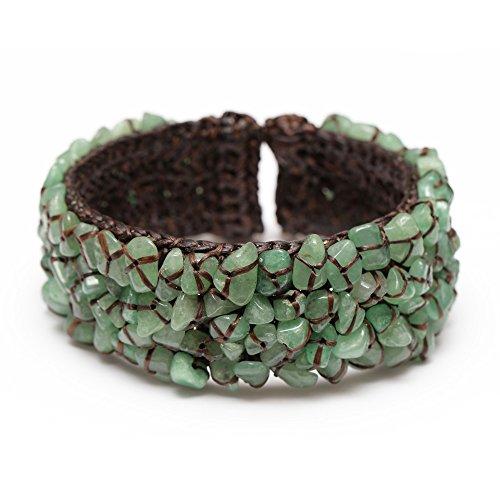 Brazalete de moda Idin–hecho a mano piedra natural verde Jade con cable encerado pulsera de puño (diámetro interno: 6cm y ajustable)