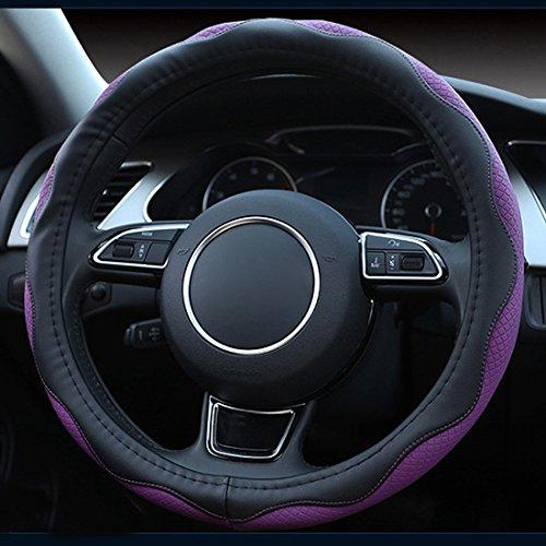 XuanMax Universal 38cm Lenkradbezug Mikrofaser Leder Wellig Atmungsaktiv Lenkradhülle Lenkradschoner Auto Lenkrad Abdeckung Lenkradabdeckung Rutschfest Lenkradschutz Car Steering Wheel Cover - Lila