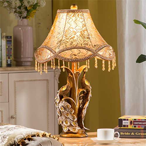 TIAMO Home Store Kreative Pfau Französisch Nachttischlampe Schlafzimmer Ehe Zimmer im europäischen Stil Luxus-Retro-Lampe leuchtet warmes Tischleuchte (Land Französisch Antiquitäten)