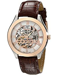 Rotary Men's Automatic Watch with White Dial Analogue Display and Brown Leather Strap gs90511/21