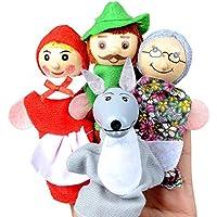 Newin Star Juquete 4 Piezas Dedo de Las Marionetas Diferentes Familia y Animales del Estilo Suave Terciopelo muñecas Atrezzo Juguetes para los niños