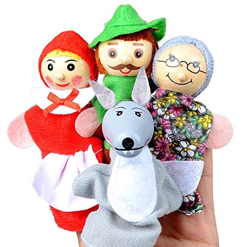 4 Stück Finger-Marionetten Verschiedene Familie und Tier-Art-Karikatur weiche Samt-Puppen Requisiten Spielzeug für Kinder