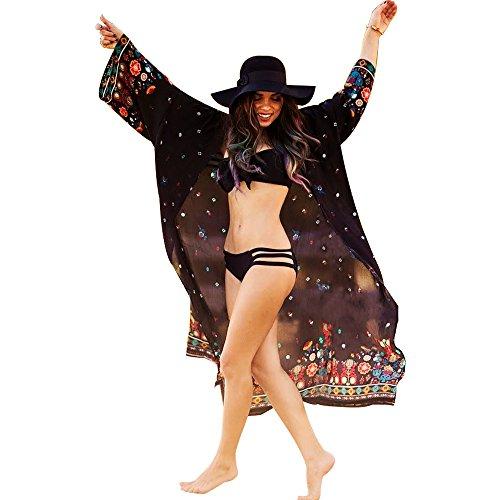 LLG Kimono-Cardigans Bademode Pareos Strandkleider, Damen Bikini Sets Bademode Strandkleid Einheit Größe Kleidung Strand Hemdkleid V-Ausschnitt Rock(KIMIC110) (Color 5)