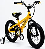 Royalbaby Bull Dozer Kinderfahrrad mit dicken Reifen, 45,7cm, geländegängiges und stämmiges Bike für aktive Jungs, mit Stützrädern und Ständer, gelb, 45,7 cm