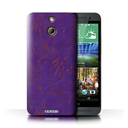 Kobalt® Imprimé Etui / Coque pour HTC One/1 E8 / Vert/Bleu conception / Série Motif floral blé Violet/Rose