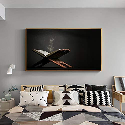 nr Islam Moschee Koran Wandkunst Leinwand Gemälde An Der Wand Islamisches Buch Heiligen Koran und Subha Dekorative Bilder Für Wohnzimmer-50x70 cm-rahmenlose