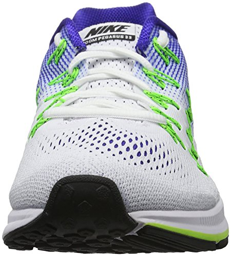 Nike Air Zoom Pegasus 33, Chaussures de Running Compétition Homme Multicolore (White/Black/Electric Green/Concord)