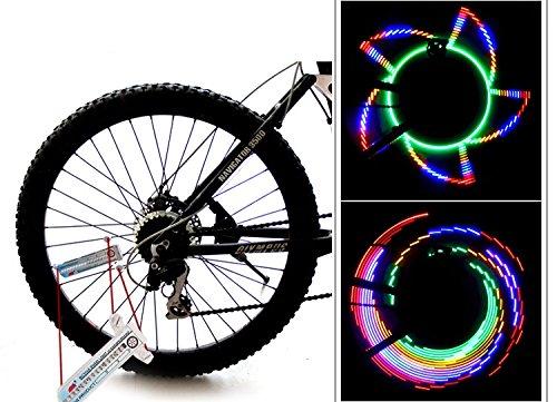 ryask (TM) rayons Roue de vélo étanche lampe torche Flash light Accessoires de vélo 16Lampe LED 32Patterns bisiklet aksesuar yc228-sz