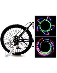 bioings (TM) impermeable bicicleta rueda radios Flash lámpara de luz bicicleta Accesorios Linterna 16LED 32patrones bisiklet Aksesuar yc228-sz