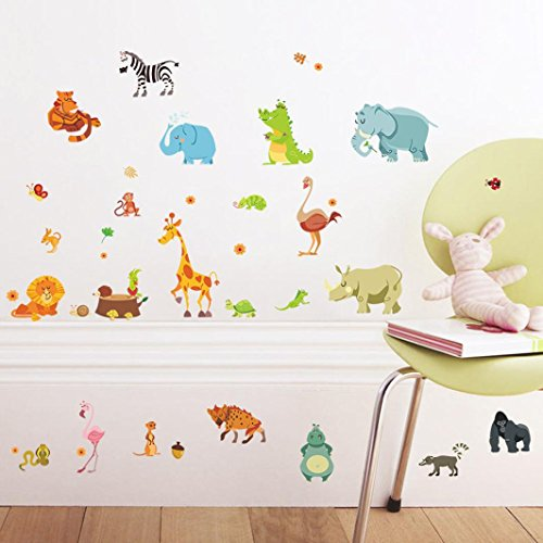 Oyedens Zoo Animals Cartoon Kidergarten Wall Stickers for Kids Room Bedroom