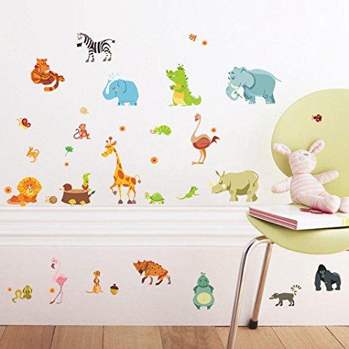 Oyedens Zoo Animals Cartoon Kidergarten Wall Stickers for Kids Room Bedroom