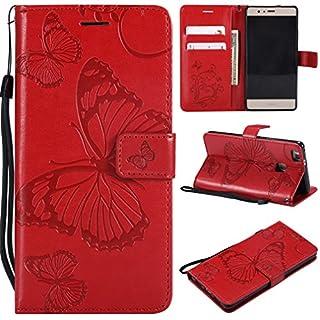 LMFULM® Hülle für Huawei P9 Lite/VNS-L31 (5,2 Zoll) PU Leder Magnet Brieftasche Lederhülle Schmetterling Geprägtes Design Stent-Funktion Flip Cover für Huawei P9 Lite 2016 Rot