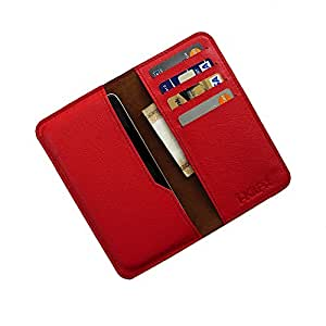 i-KitPit : Genuine Leather Wallet Flip Pouch Case For Micromax Bolt A35 (RED)