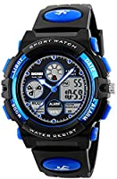 Kids Childrens Boys Girls Watches Digital Analogue Sports Alarm 50M Waterproof Teenage Boy Watch Dual Time Zone Chronograph Calendar Date Multifunction Wrist Watch with Blue Dial Black Rubber Strap