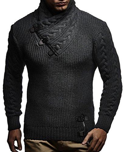 LEIF NELSON Herren Pullover Kapuzenpullover Hoodie Strickpullover Hoody Sweatshirts Longsleeve Winterjacke Pulli LN7075; Größe S, Anthrazit | 04251510202712