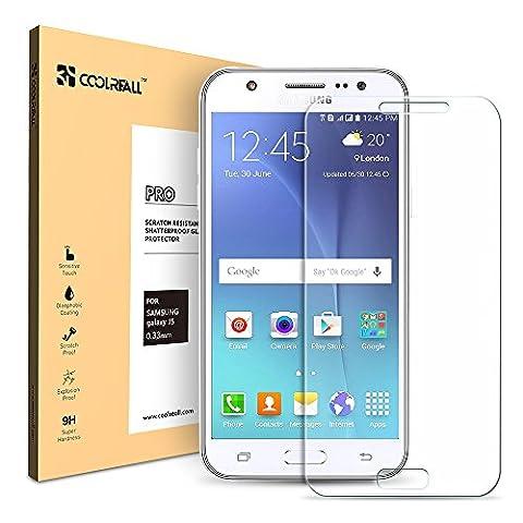 Verre Trempé Samsung Galaxy J5 2015,Coolreall Film Protection en Verre trempé écran Protecteur Vitre pour Samsung Galaxy J5(5.0 pouces)[0.33mm HD Ultra