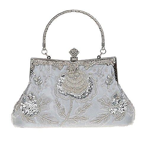 Heyjewels Vintage Handmade Damen Beaded Perlen Clutch Glitzer Floral Abendtasche silbrig -