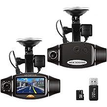 """THINK SOGOOD 2,7 """"Dual Lens Dash Kamera, 720P Auto DVR mit 140 ° Weitwinkel vorn und 120 ° Weitwinkel hinten, Fahrrecorder mit G-Senor, Loop Recording, Nachtsicht, GPS, Bewegungserkennung"""