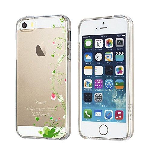 Coque iPhone 5/5S/SE,Vanki® Motif Plantes à fleurs Housse Transparente , Housse TPU Souple Etui de Protection Silicone Case Soft Gel Cover Anti Rayure Anti Choc pour Iphone5/5S/SE 8