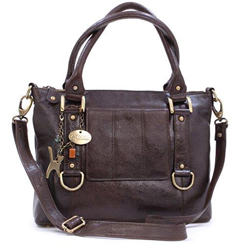 Catwalk Collection Handbags - Leder - Umhängetasche/Handtasche - Handtasche mit Schultergurt/Schultertasche - GALLERY - Braun
