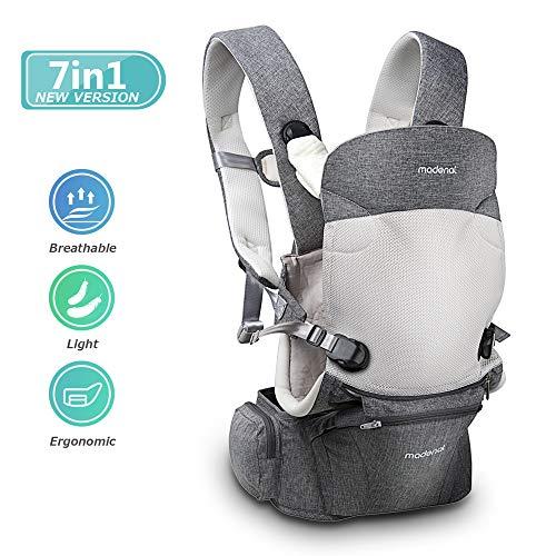 MADENAL 360º Ergonomische Babytrage mit Hüftsitz, [7 Positionen für alle Jahreszeiten], [für 3–36 Monate altes Babys], [Für Träger einstellbar von normal bis übergroß], Atmungsaktiver
