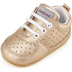 DELEBAO Zapatillas de Niño Zapatos para Bebé Primeros Pasos Calzado de Bebes Zapato con Cordones y Suela de Goma (Gold,0-6 Meses)
